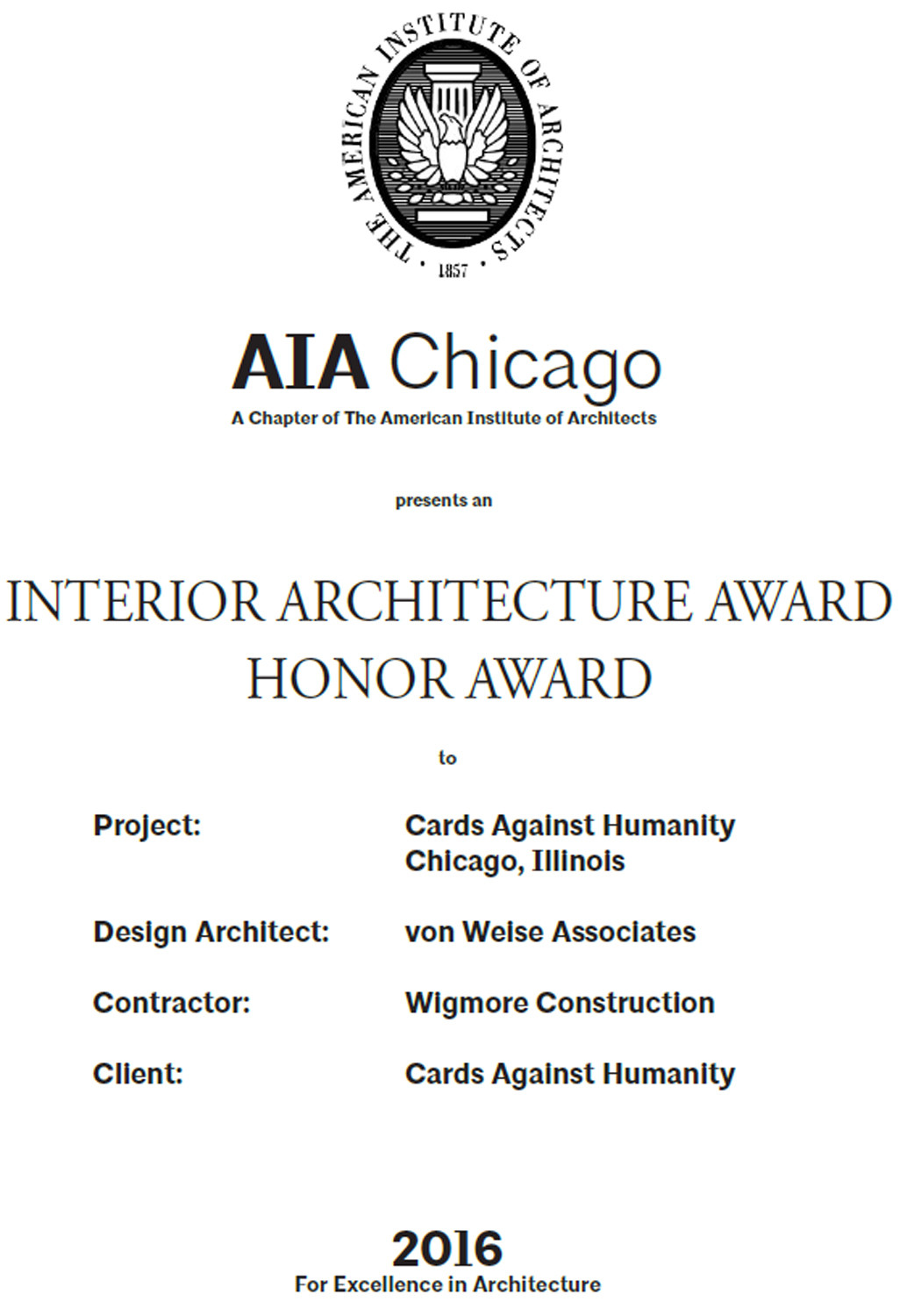 Aia 2016 Interior Architecture Award